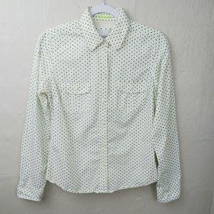 American Eagle Green Polka Dot Button Down Shirt